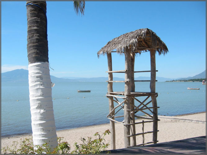 Lifeguard station on the beach in the town of Chapala on Lake Chapala in Mexico.