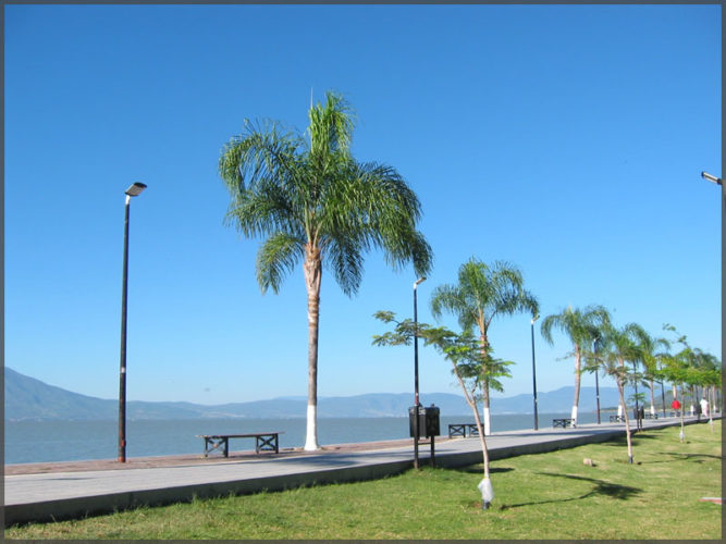 Ajijic malecon on the shores of Lake Chapala in Mexico.