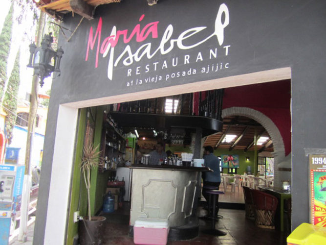 Street view of Maria Isabel Restaurant one of the several Ajijic restaurants on the malecon.