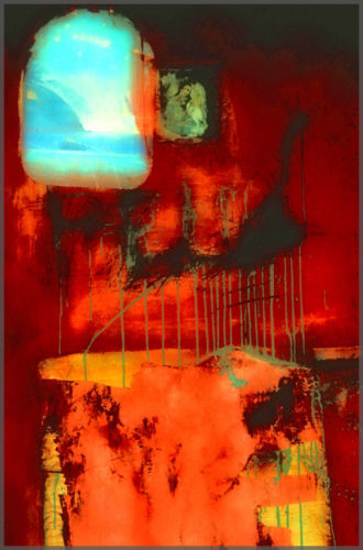 Photographer Jill Flyer of Ajijic Mexico creates an Abstraction of photograph using photoshop with red orange background.
