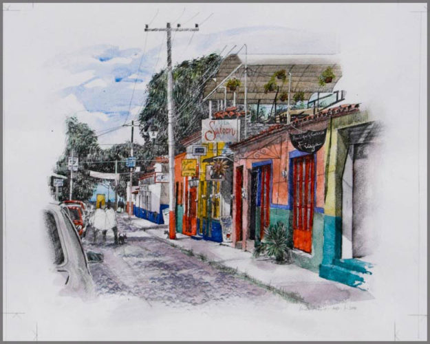 Water colour painting of Calle Morelos in Ajijic by artist Brian Pimlott.