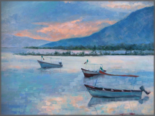 Artist Isabel Goode-DeBlanc of Ajijic Mexico, Oil painting of blue dusk over over Lake Chapala with boats in the foeground.