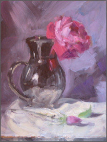 Artist Isabel Goode-DeBlanc depicts a Rose in a silver pitcher painted in oil on canvas.