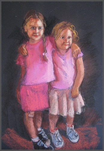 Pastel drawing of 2 Sisters by Artist Isabel Goode-DeBlanc of Ajijic Mexico.