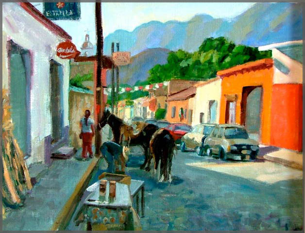 Oil painting of the Six Corners area of Ajijic by Artist Isabel Goode-DeBlanc of Ajijic Mexico.