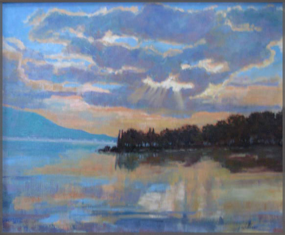 Oil painting of sunset over Lake Chapala by Artist Isabel Goode-DeBlanc