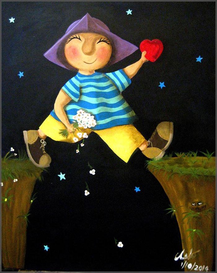 Leap of Faith by Artist Chelo Gonzalez acrylic on canvas.