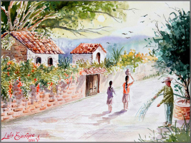 Watercolour painting of Mi Pueblito on paper by artist Luis Enrique of Mexico.