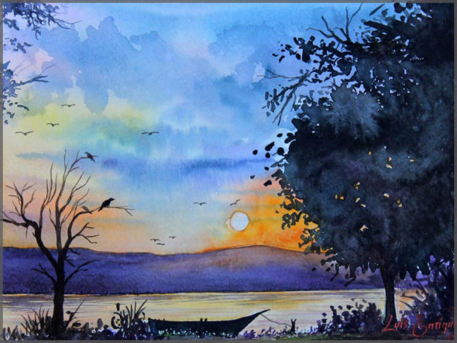 Watercolour painting of Un Bello Atardecer on paper by artist Luis Enrique of Ajijic, Mexico.
