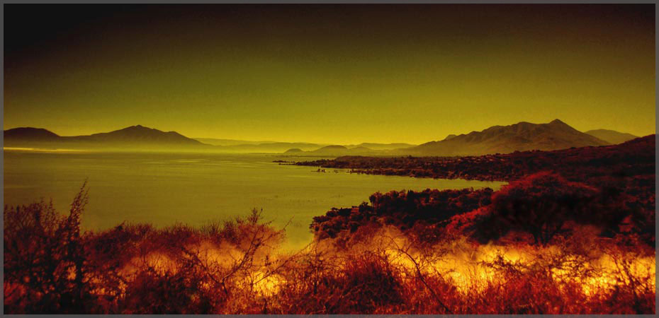 Photographer Jill Flyers rendition of Photo of Lake Chapala enhanced in red to orange tint