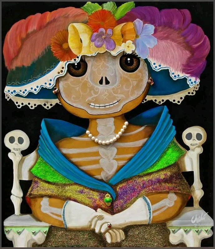 Artist Chelo Gonzalez Catrina Gorda painted on canvas with acrylic.