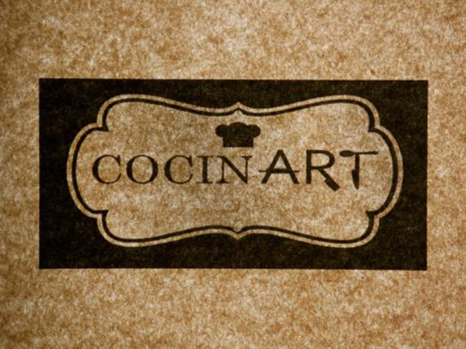 Logo of a newer Ajijic Restaurant, Cocinart,with motled brown background a brown chefs hat and Cocinart text.