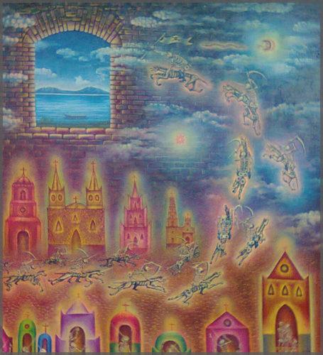 Mexican Artist Jesus Lopez Vega's El Escuadron de la Muerte oil painting on canvas