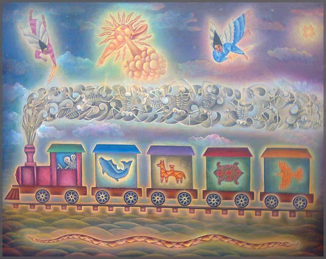 Artist Jesus Lopez Vega of Mexico original painting El Trencito, acrylic on canvas.