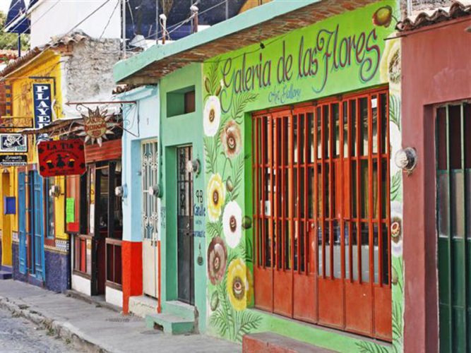 Several brightly painted shops along Colon Calle in Ajijic.