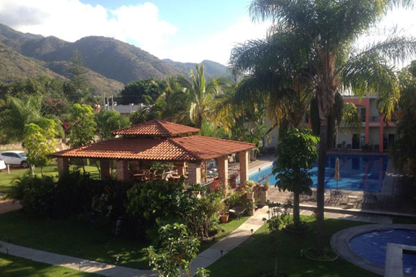Garden and pool view of Hotel la Joya del Lago in Ajijic Mexico.
