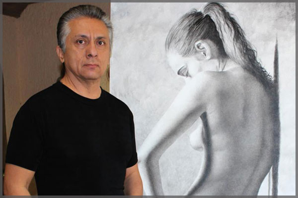 Portrait of Ajijic artist Javier Ramos beside black sketched nude.