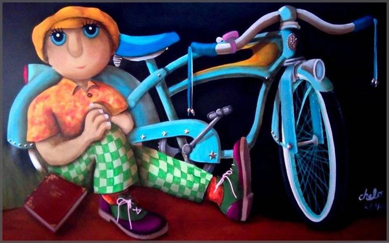 La Bici by artist Chelo Gonzalez, acrylic on canvas.