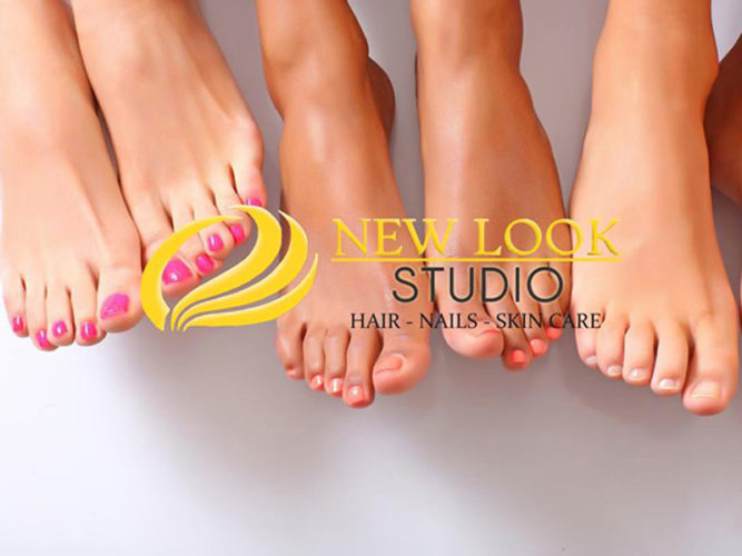 five pedicured feet with nail polish with an overlay of New Look Studio logo in yellow