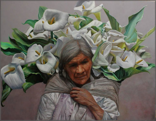 Artist Javier Ramos, oil on canvas, depicts a older woman with grey hair carrying a bunch of calla lilies on her back.