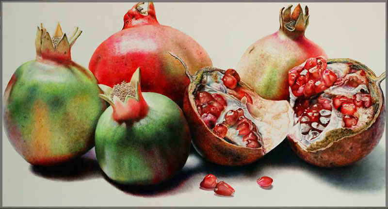 Oil on canavas painting of Pomegranates with one open showing seeds by Artist Javier Ramos.