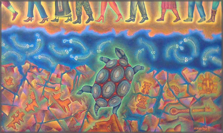 Rio Santiago acrylic on canvas painting by artists Jesus Lopez Vega of Ajijic, Mexico.
