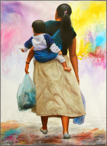 Oil on canvas painting of the back of a woman with baby slung on her back carrying bags of groceries by Artist Javier Ramos.