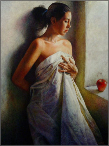 Still life of woman draped in a sheet looking out a window with an apple on the sill paintied by Artist Javier Ramos.