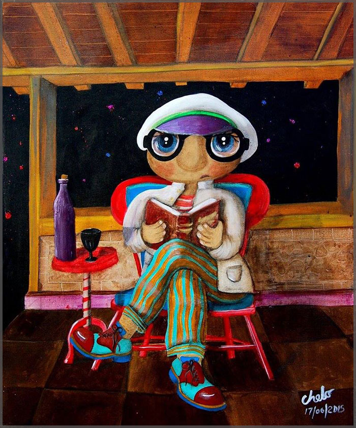 Acrylic on canvas painting, The Reader by Artist Chelo Gonzalez.