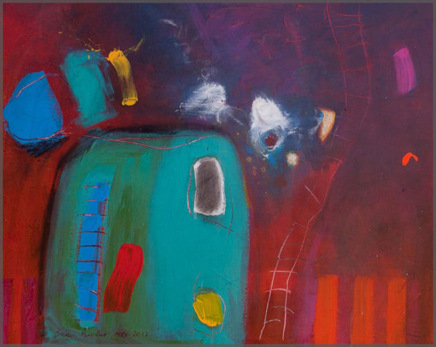 Artist Brian Pimlott's painting on canvas of Red and turquoise abstract acrylic