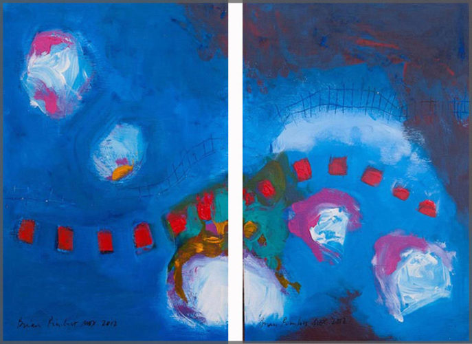 Blue, white and red diptych paintigs on canvas by artist Brian Pimlott.