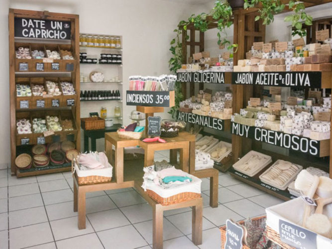 Shelves and tables stocks with various soaps of natural ingredients at Zen Seed shop in Ajijic.