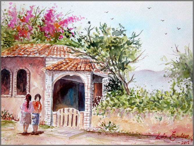 Watercolour painting on paper by artist Luis Enrique of 2 friends standing in front of a house.