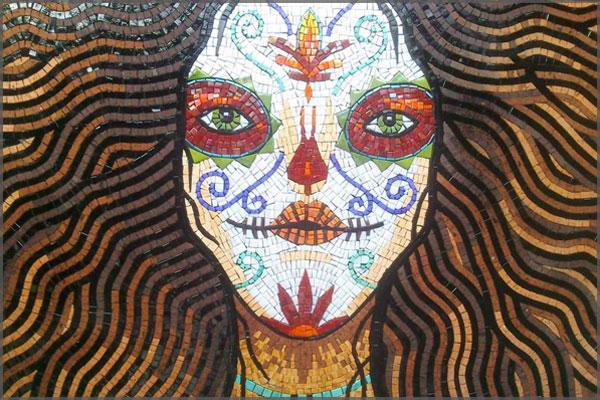 Catrina in mosaic created by Artist Federico Ramos of Ajijic, Mexico.