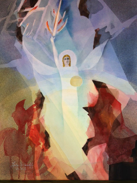Mystery Woman, original watercolor painting on paper by artist Lois Schroff of Ajijic, Mexico