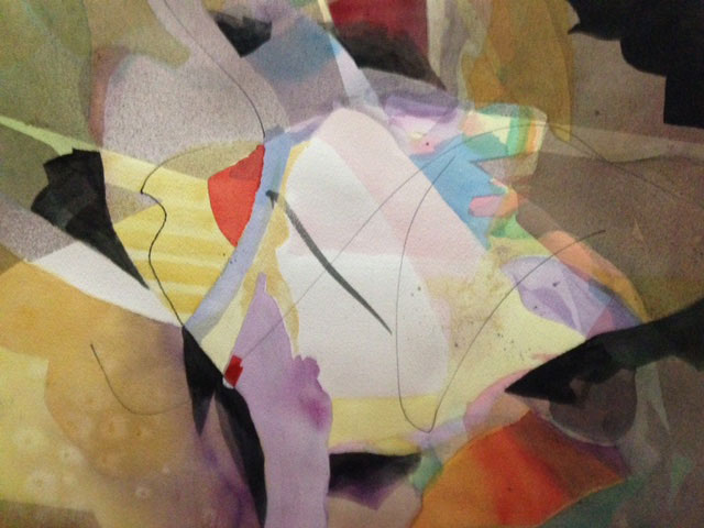 Artist Lois Schroff of Ajijic, Mexico abstraction creation Mexico Colors, original collage on paper.